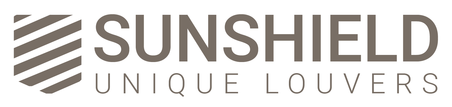 Sunshield logo, brown on white background