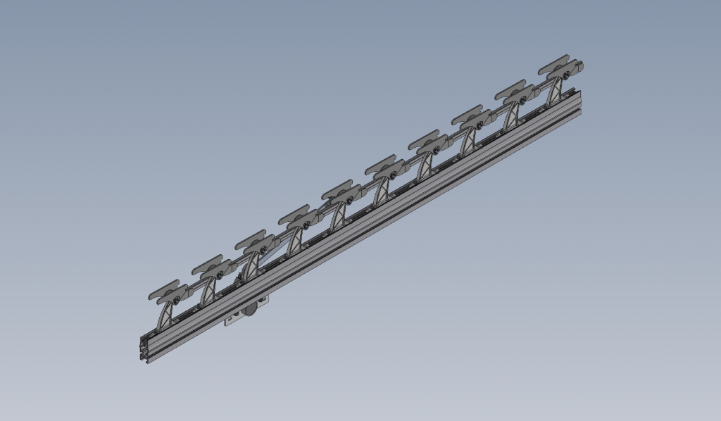 Image of 3d drawing of an assembled rack arm of the L-system