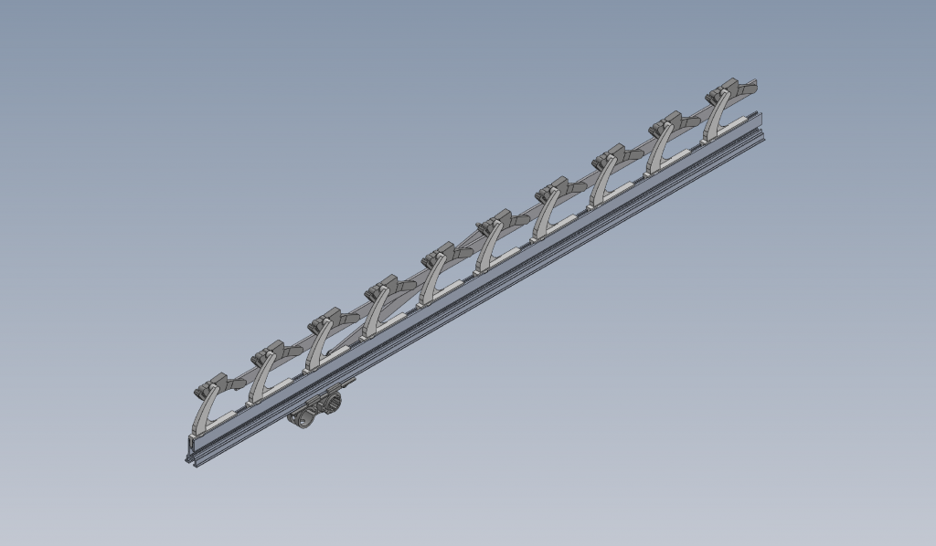 Image of 3d drawing of an assembled rack arm of the S-system
